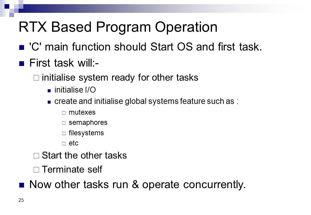 RTX Based Program Operation