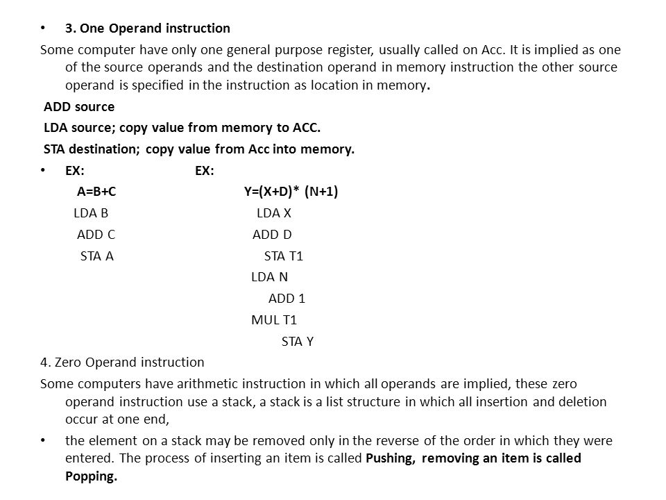 3. One Operand instruction