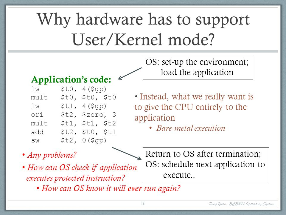 Why hardware has to support User/Kernel mode