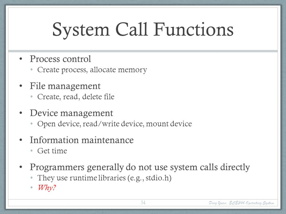 System Call Functions Process control File management