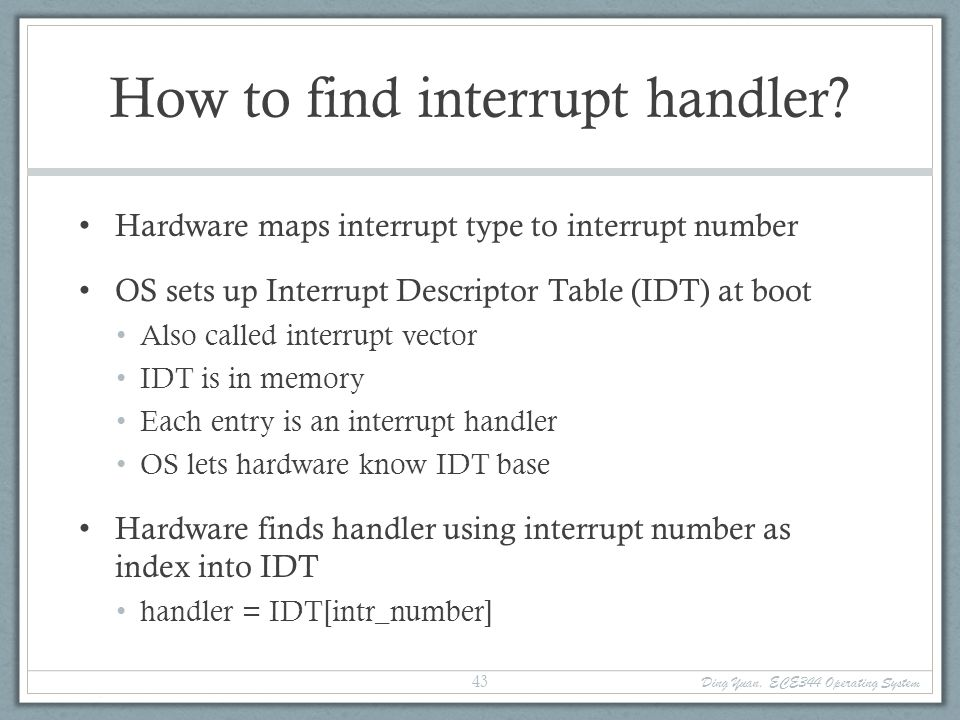 How to find interrupt handler