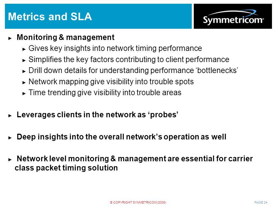 Metrics and SLA Monitoring & management