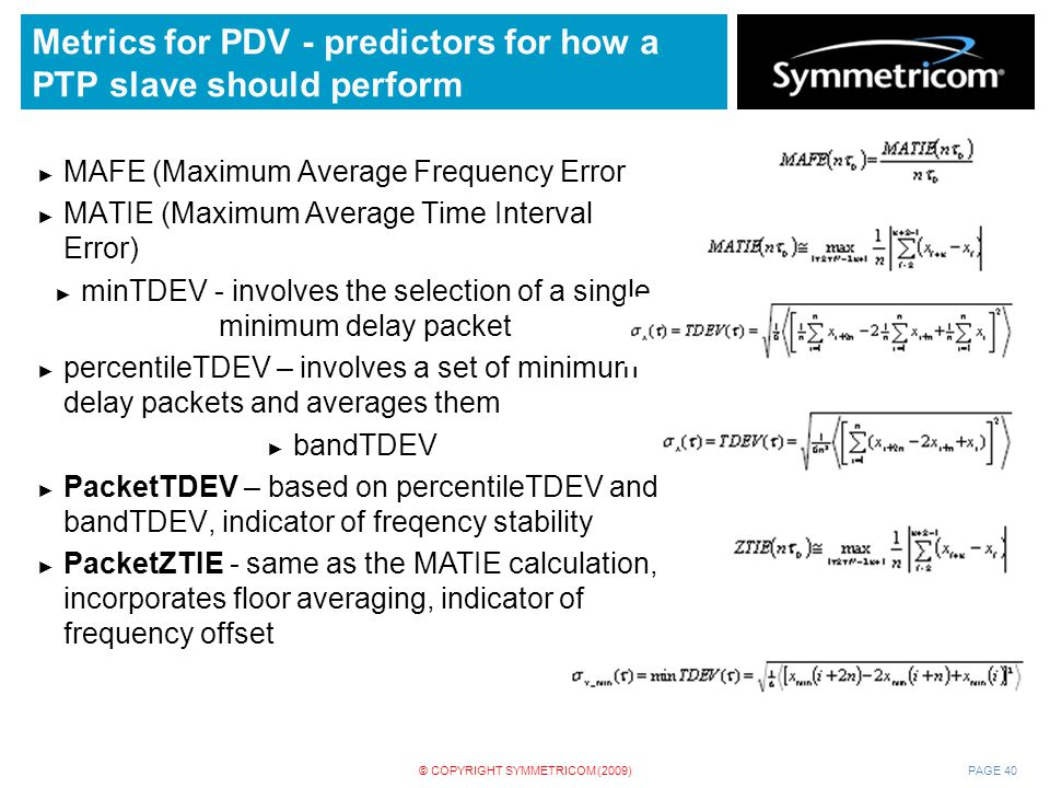 Metrics for PDV - predictors for how a PTP slave should perform