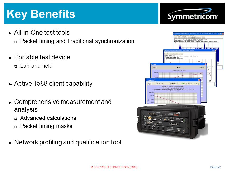 Key Benefits All-in-One test tools Portable test device