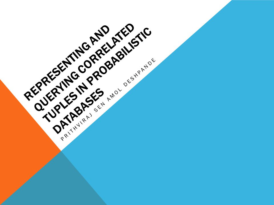 Representing and Querying Correlated Tuples in Probabilistic Databases