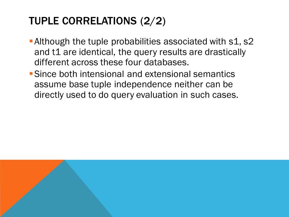 Tuple correlations (2/2)