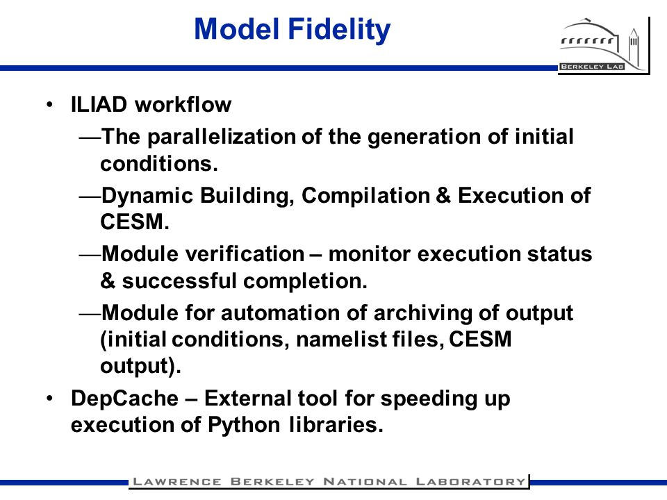 Model Fidelity ILIAD workflow