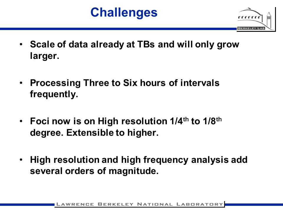 Challenges Scale of data already at TBs and will only grow larger.