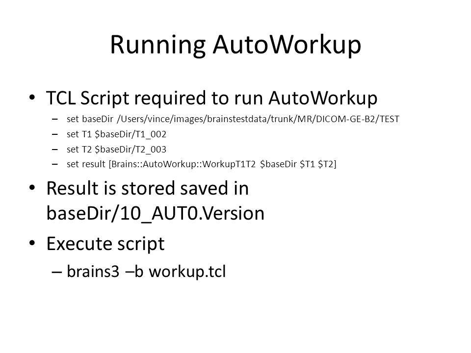 Running AutoWorkup TCL Script required to run AutoWorkup