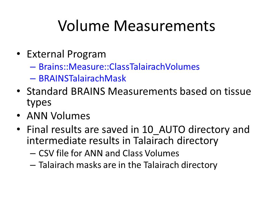 Volume Measurements External Program