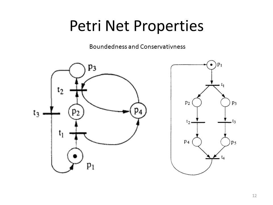 Petri Net Properties Boundedness and Conservativness