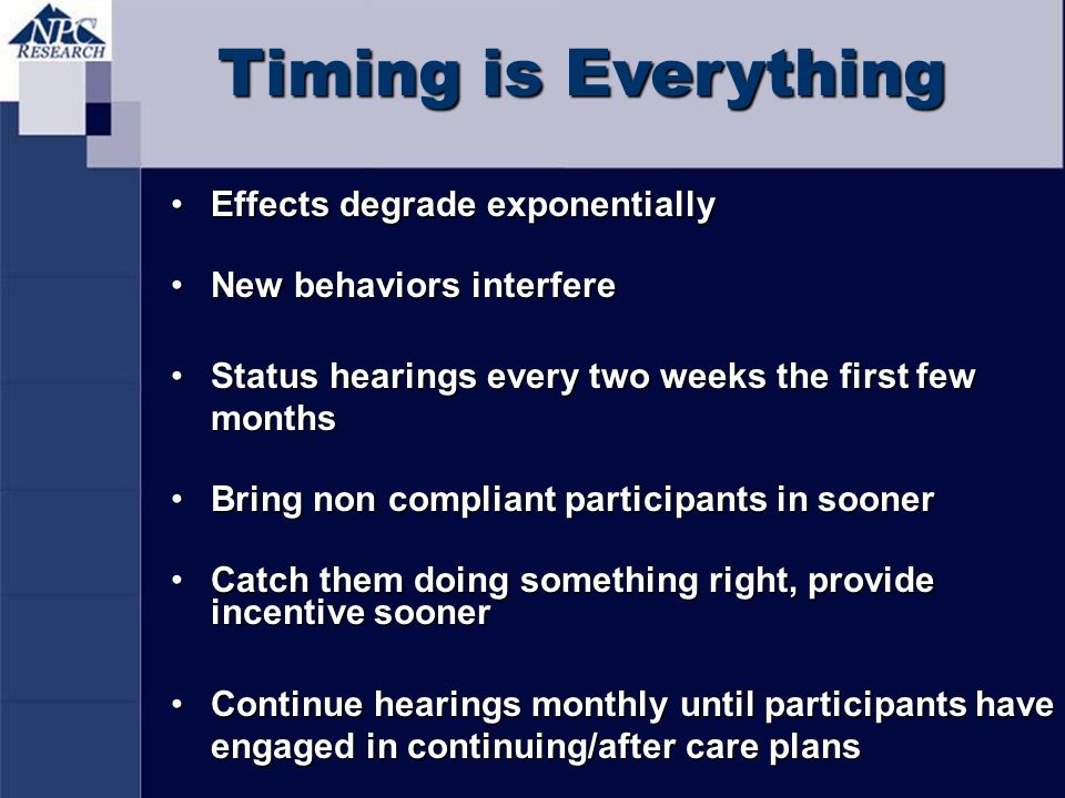 Timing is Everything Effects degrade exponentially
