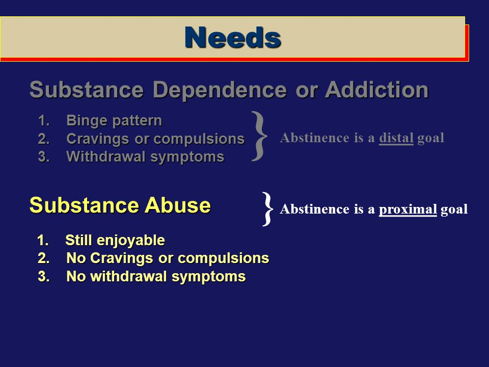 Abstinence is a distal goal Abstinence is a proximal goal