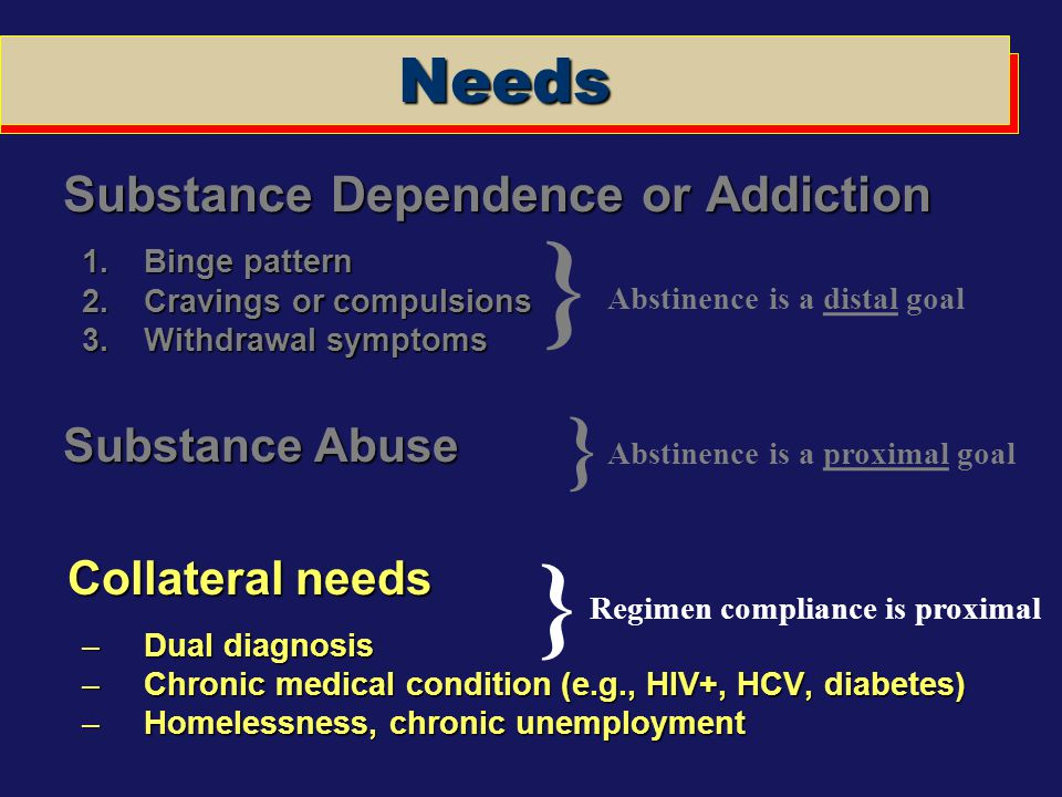 } } } Needs Collateral needs Substance Dependence or Addiction