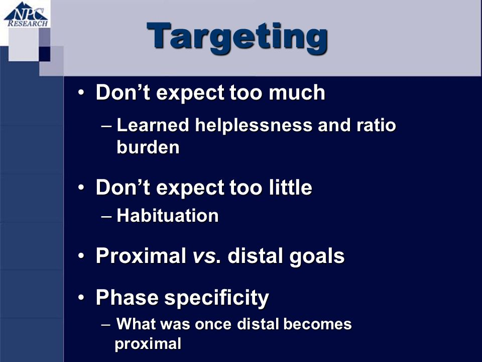 Targeting Don't expect too much Don't expect too little