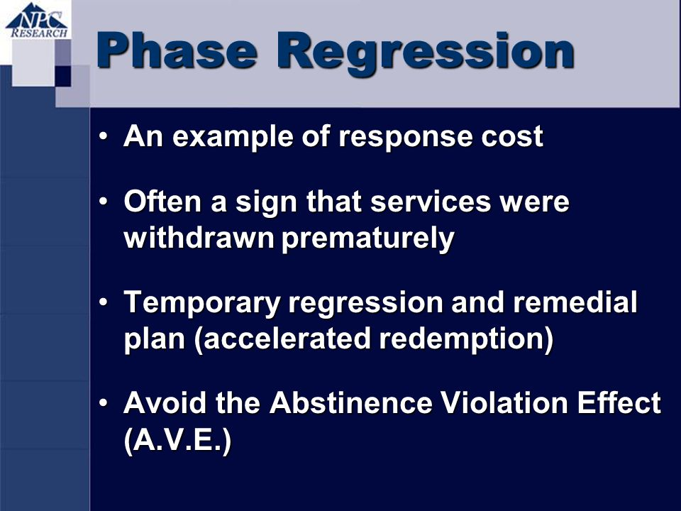 Phase Regression An example of response cost