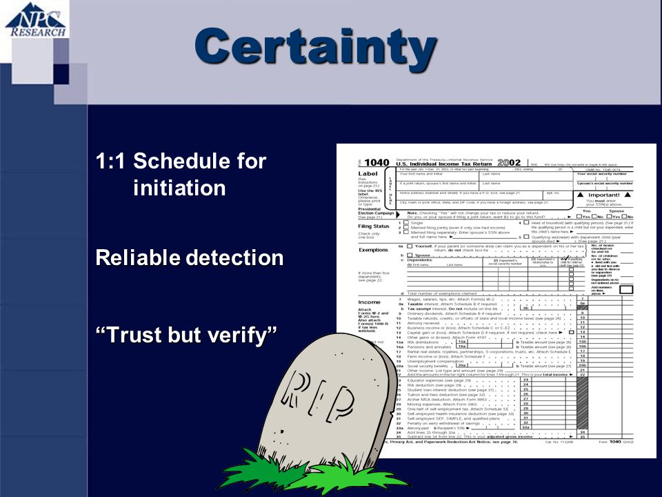 Certainty 1:1 Schedule for initiation Reliable detection Trust but verify