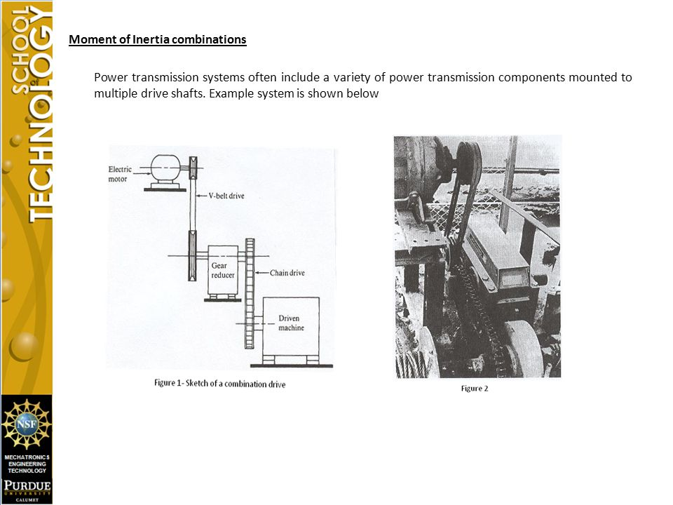 Moment of Inertia combinations Power transmission systems often include a variety of power transmission components mounted to multiple drive shafts.