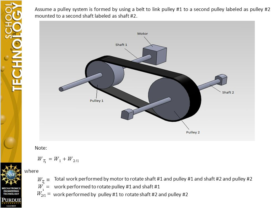 Assume a pulley system is formed by using a belt to link pulley #1 to a second pulley labeled as pulley #2 mounted to a second shaft labeled as shaft #2.