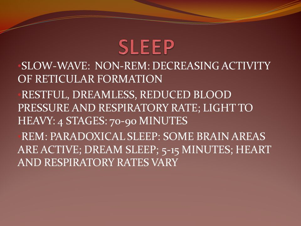 SLEEP SLOW-WAVE: NON-REM: DECREASING ACTIVITY OF RETICULAR FORMATION