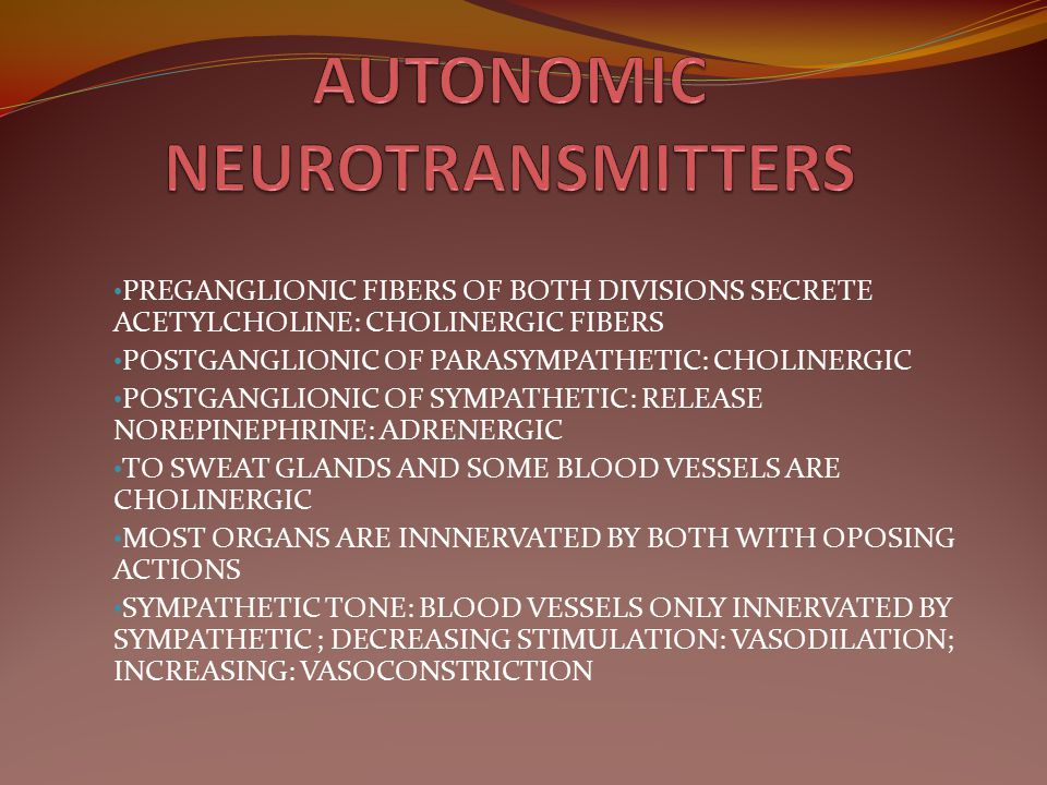 AUTONOMIC NEUROTRANSMITTERS