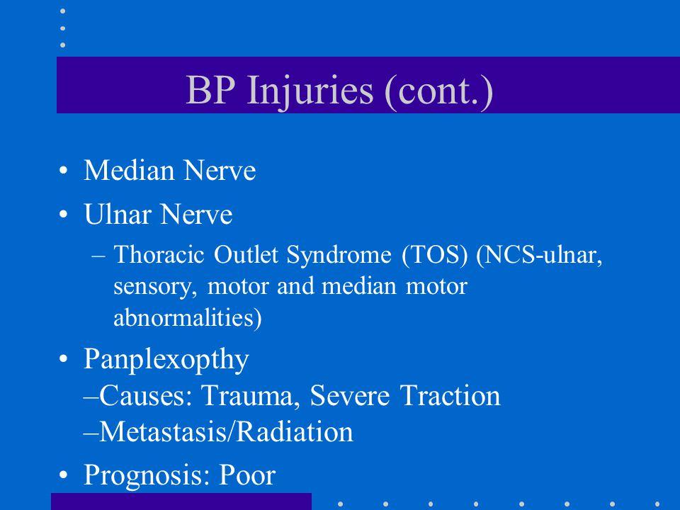 BP Injuries (cont.) Median Nerve Ulnar Nerve