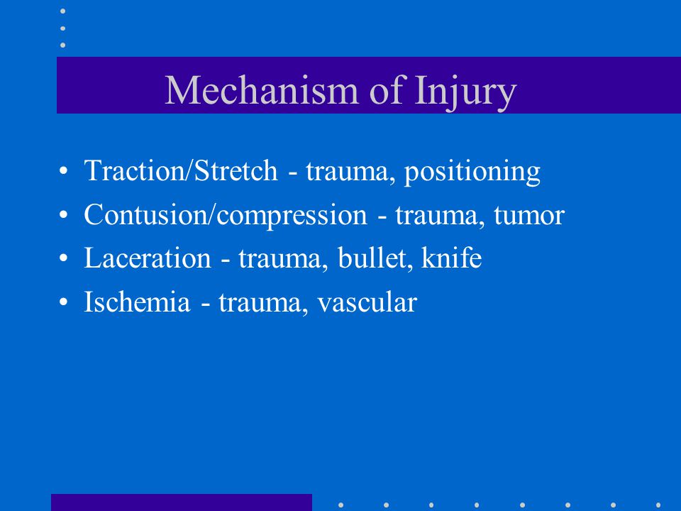 Mechanism of Injury Traction/Stretch - trauma, positioning