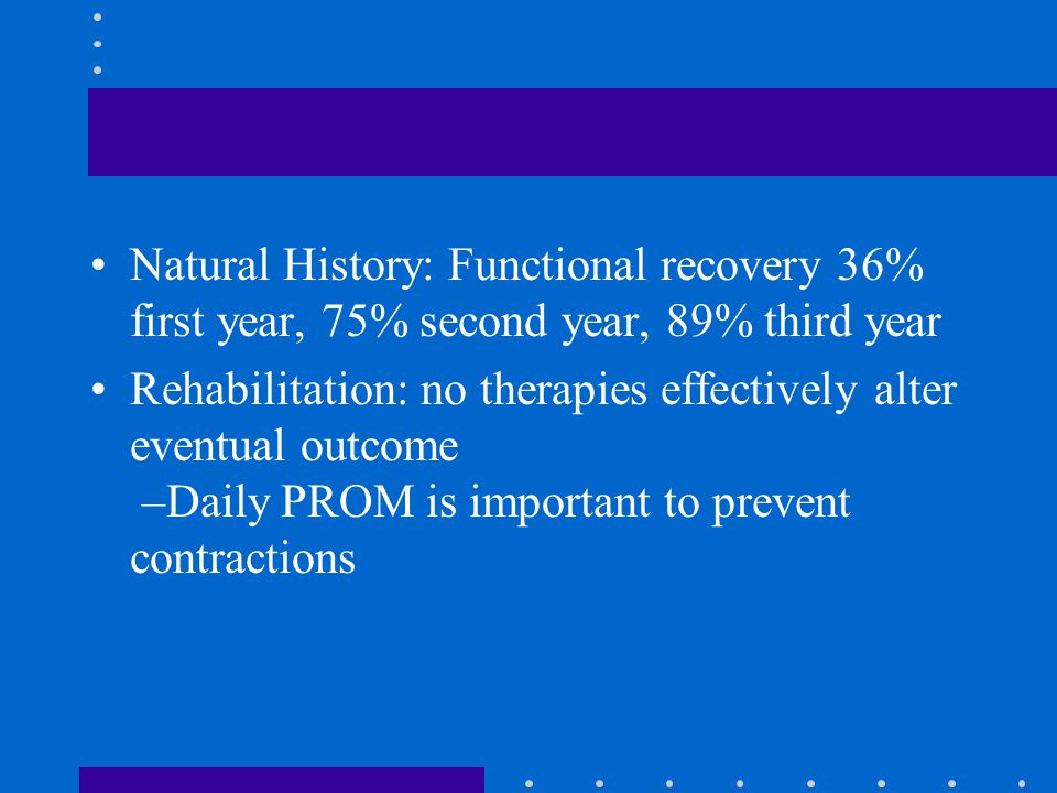 Natural History: Functional recovery 36% first year, 75% second year, 89% third year