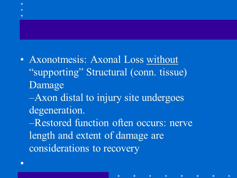 Axonotmesis: Axonal Loss without supporting Structural (conn
