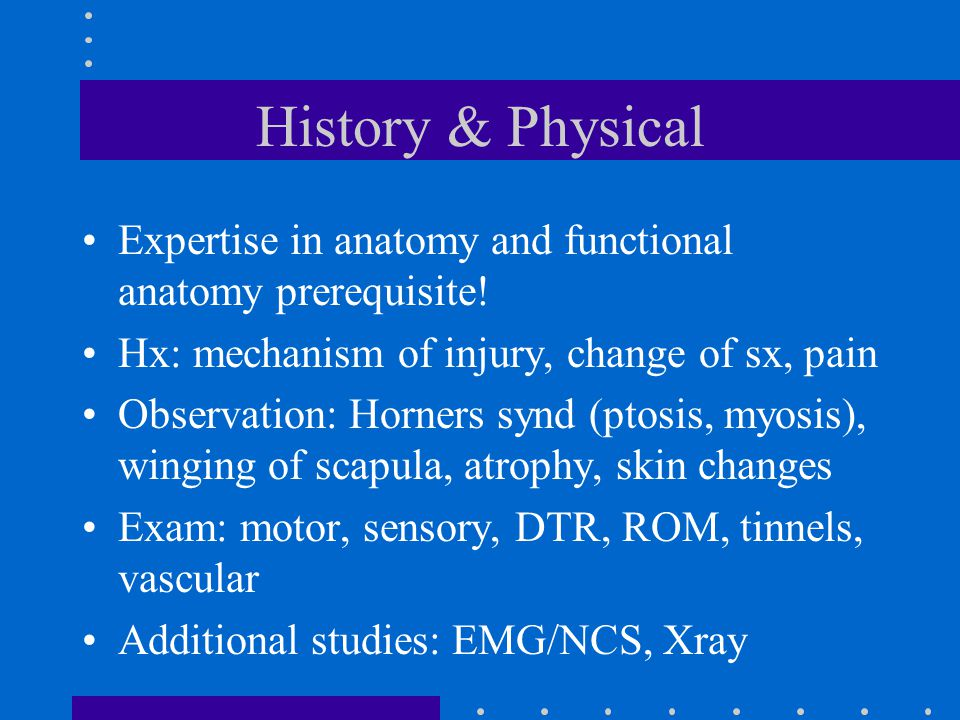 History & Physical Expertise in anatomy and functional anatomy prerequisite! Hx: mechanism of injury, change of sx, pain.