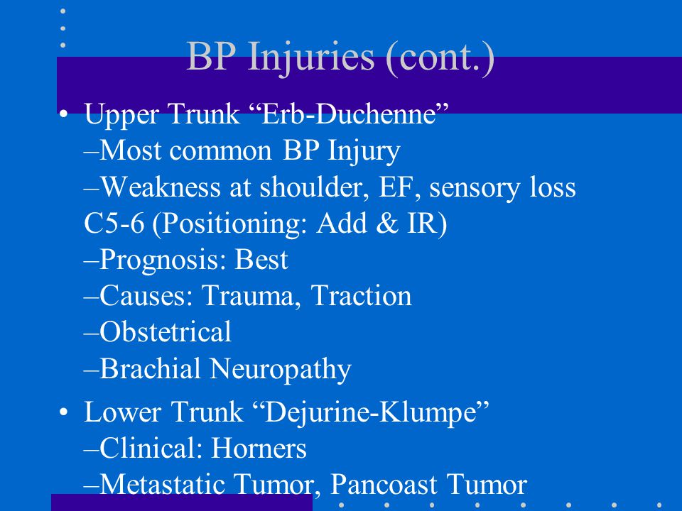 BP Injuries (cont.)