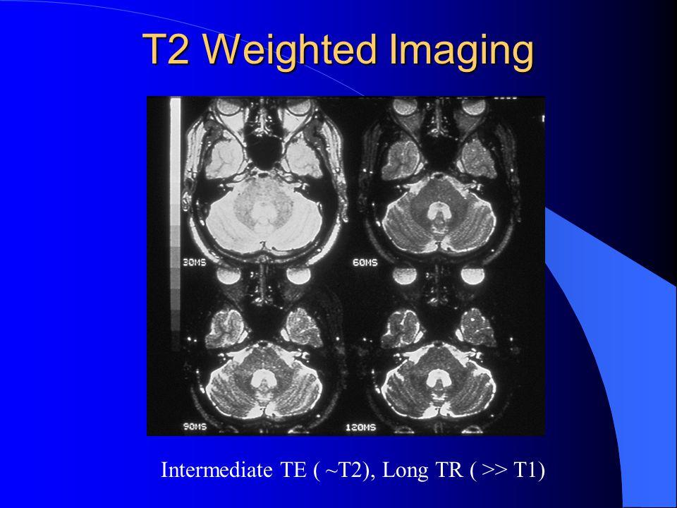Intermediate TE ( ~T2), Long TR ( >> T1)