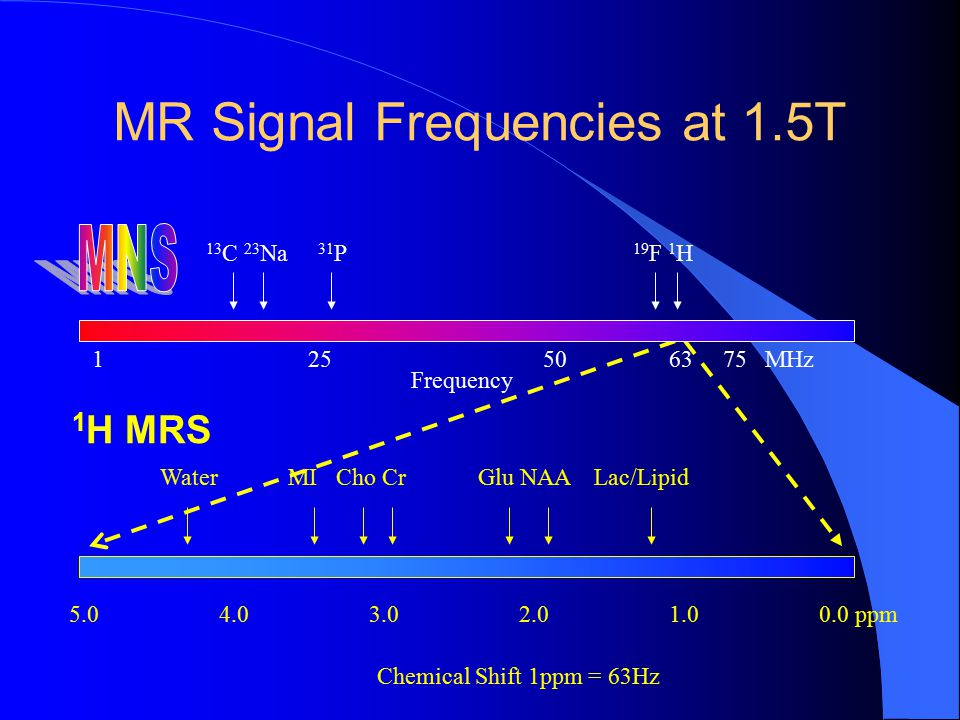 MR Signal Frequencies at 1.5T