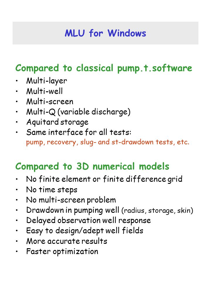 Compared to classical pump.t.software