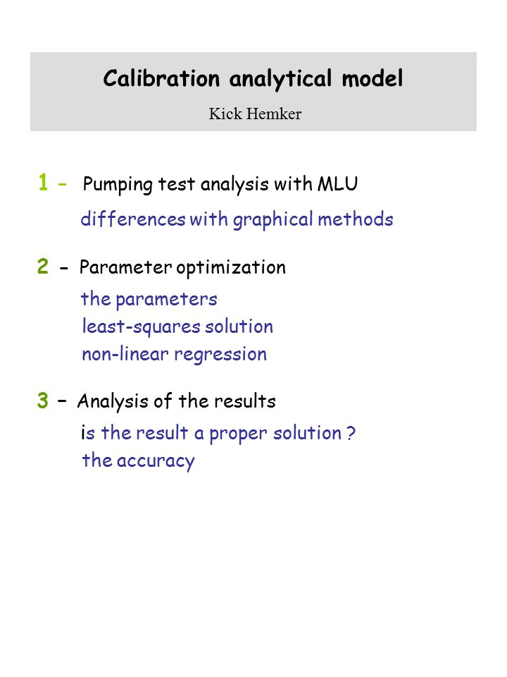 Calibration analytical model