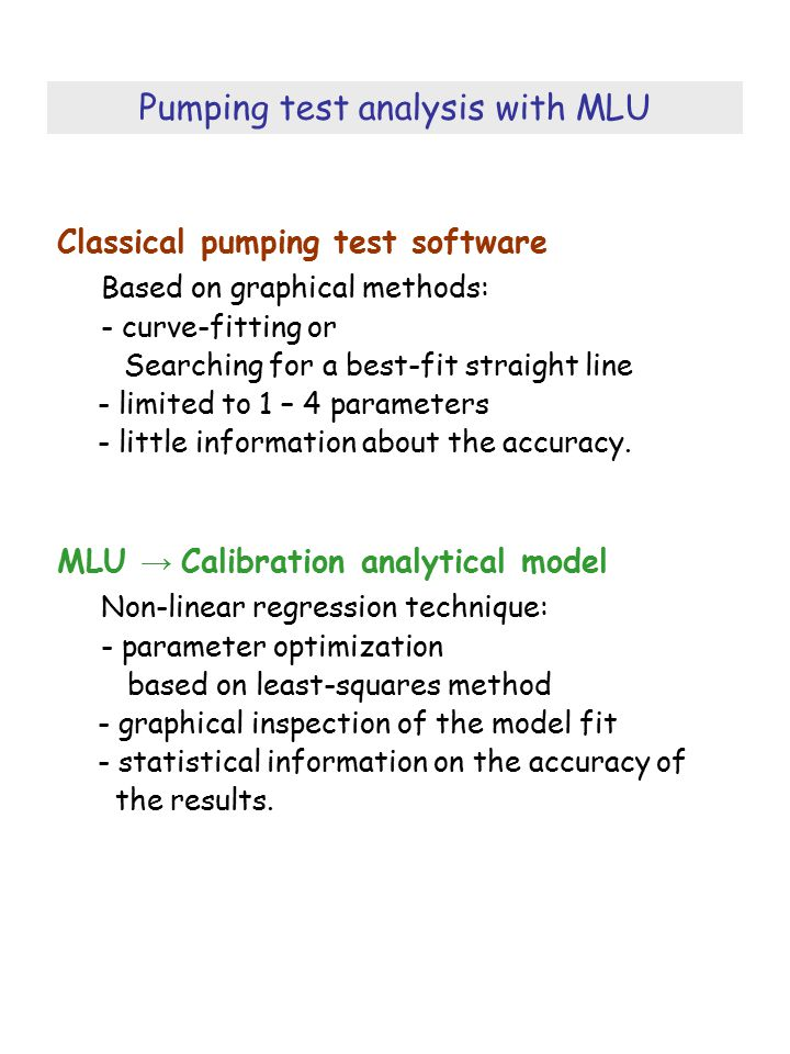 Pumping test analysis with MLU