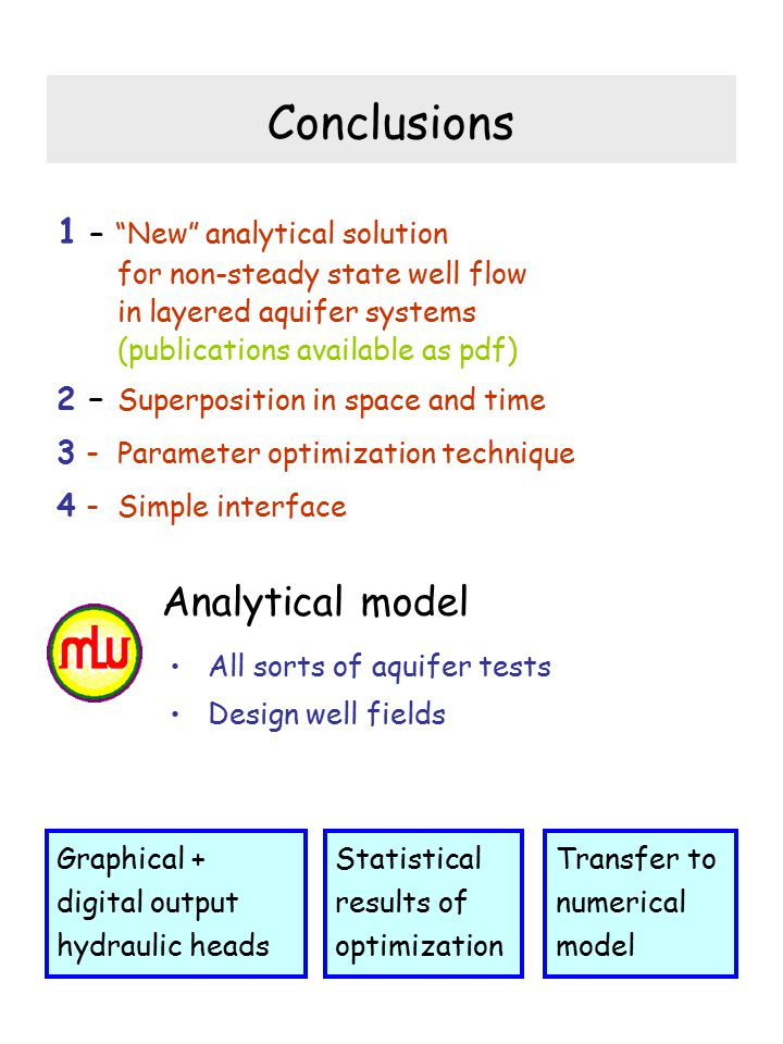 Conclusions Analytical model 1 – New analytical solution