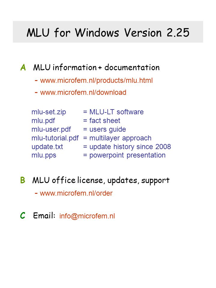 MLU for Windows Version 2.25