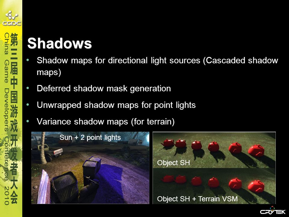 Shadows Shadow maps for directional light sources (Cascaded shadow maps) Deferred shadow mask generation.