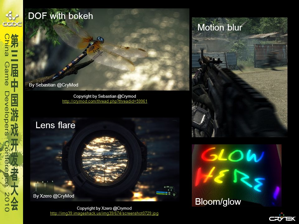 DOF with bokeh Motion blur Lens flare Bloom/glow By Sebastian @CryMod
