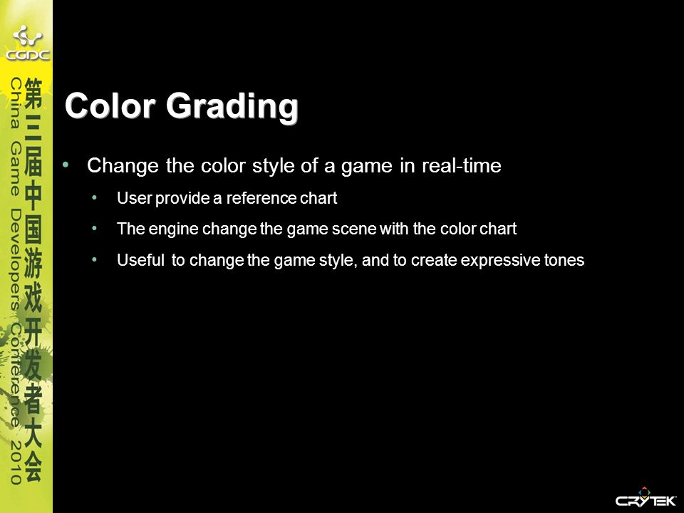 Color Grading Change the color style of a game in real-time