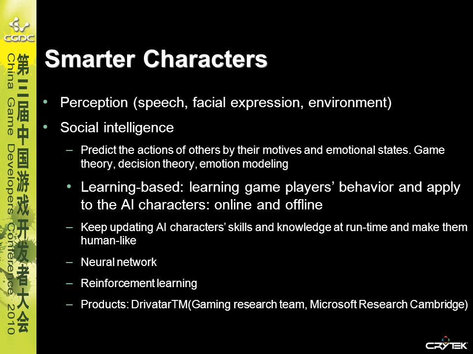 Smarter Characters Perception (speech, facial expression, environment)