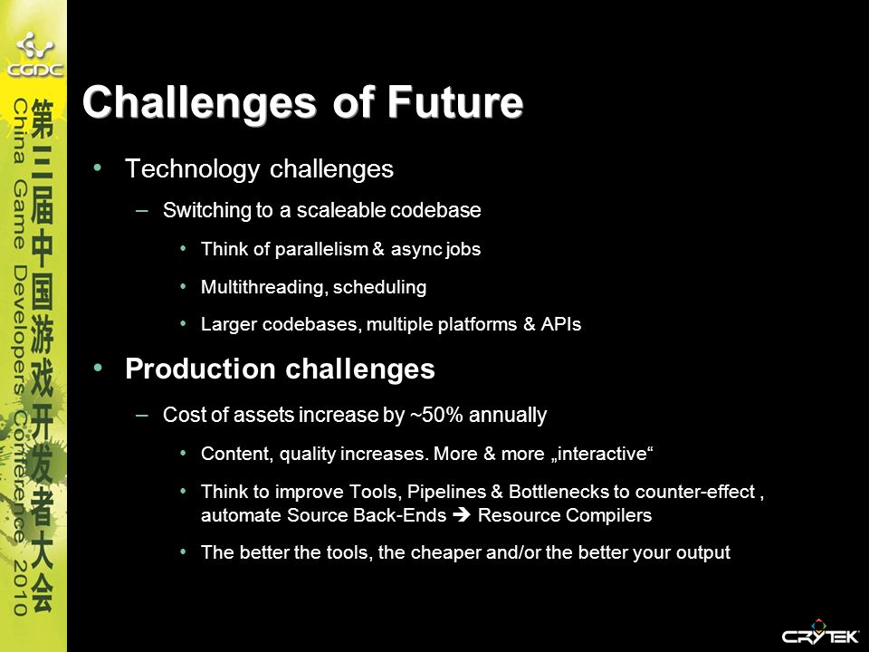 Challenges of Future Production challenges Technology challenges