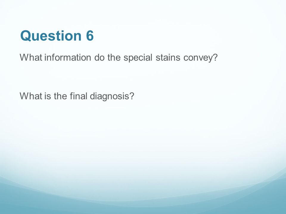 Question 6 What information do the special stains convey What is the final diagnosis