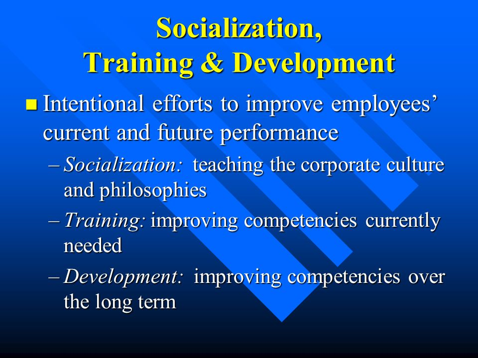 Socialization, Training & Development