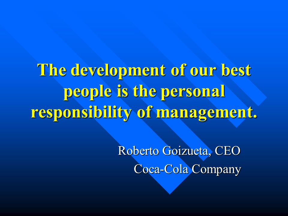 coca cola case study roberto goizueta Case study coca-cola has the most valuable brand name in the world and, as one of the most visible companies worldwide, has a tremendous opportunity to excel in all dimensions of business performance.
