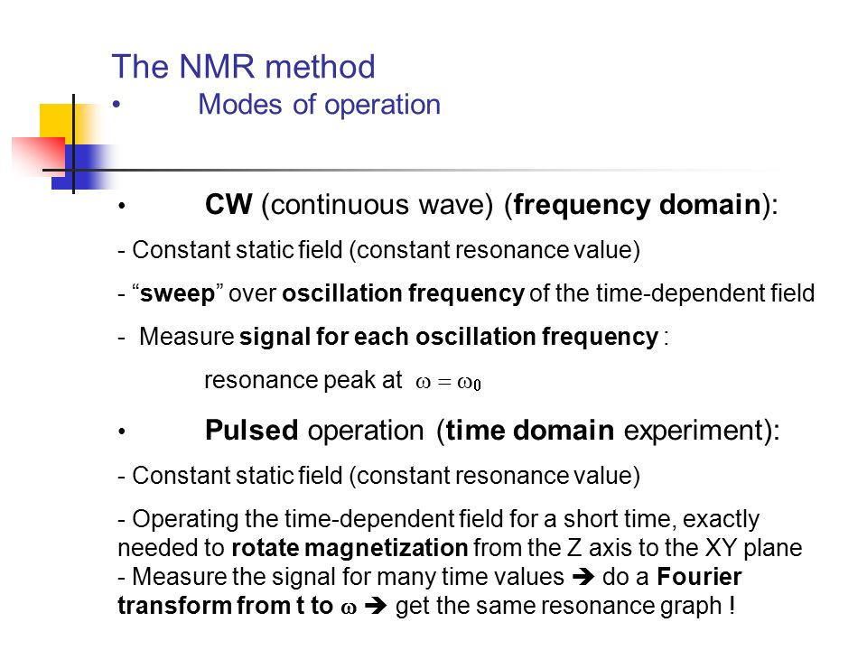 The NMR method Modes of operation