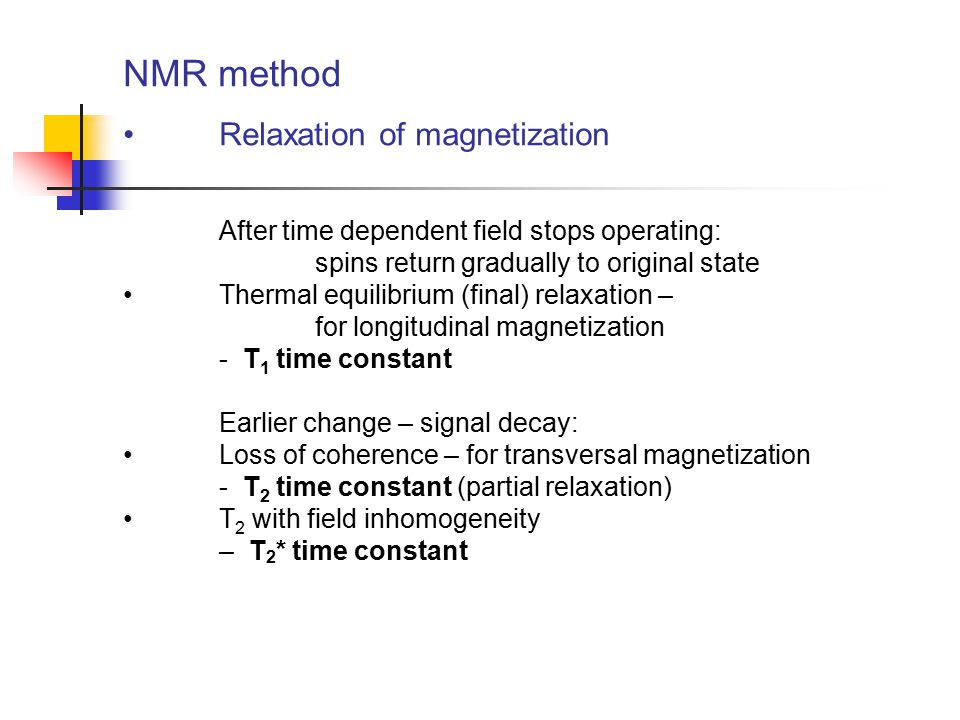 NMR method Relaxation of magnetization