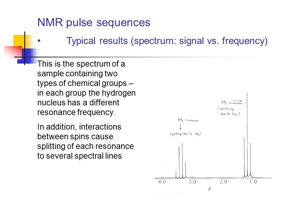 NMR pulse sequences Typical results (spectrum: signal vs. frequency)