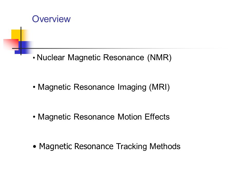 Overview Magnetic Resonance Imaging (MRI)